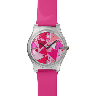 Mid-Century Modern Triangles, Pink and Burgundy Watch