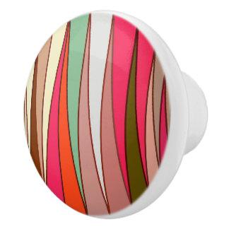 Mid-Century Modern Triangles, Taupe & Fuchsia Pink Ceramic Knob