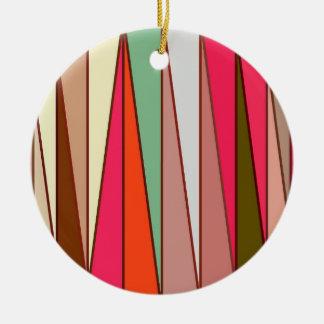 Mid-Century Modern Triangles, Taupe & Fuchsia Pink Ceramic Ornament