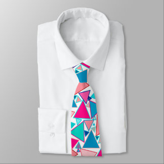 Mid-Century Modern Triangles, Turquoise and Coral Tie