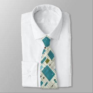 Mid Century Modern, Turquoise, Black,  Geometric Tie