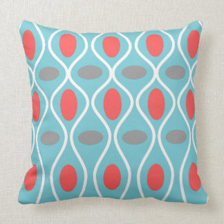 Mid Century Modern, Waves Spheres, Blue, Red, Gray Throw Pillow