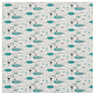 Mid-Century Modern Whimsical Fish Retro Teal Fabric