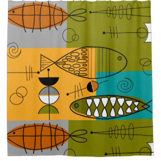 Mid-Century Modern WhimsicalFish Shower Curtain