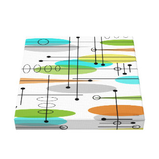 Mid Century Modern Wrapped Canvas Abstract #19