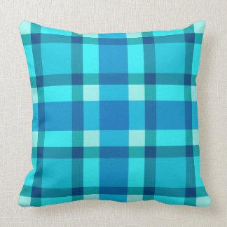 Mid-Century Plaid, Cobalt Blue, Aqua & Turquoise Cushion