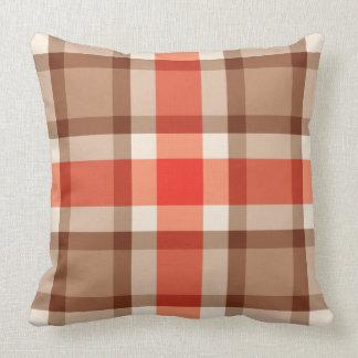 Mid-Century Plaid, Coral Orange, Brown & Tan Cushion