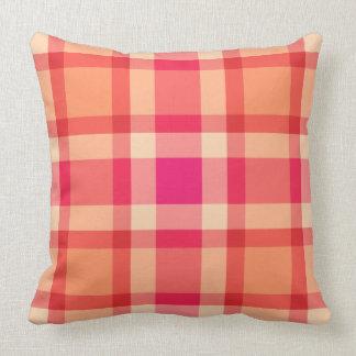 Mid-Century Plaid, Orange, Coral and Fuchsia Pink Cushion
