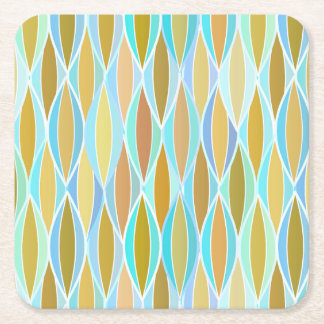 Mid-Century Ribbon Print - blues and neutrals Square Paper Coaster