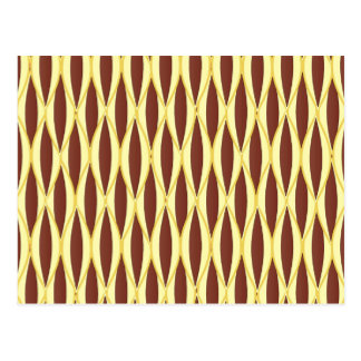 Mid-Century Ribbon Print - brown and gold Post Cards