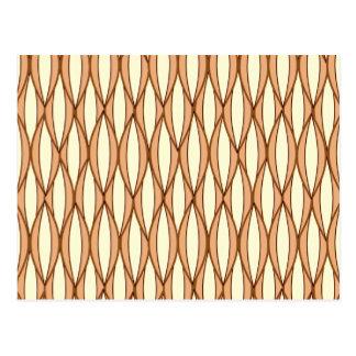Mid-Century Ribbon Print - camel tan and cream Post Card