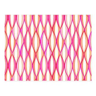 Mid-Century Ribbon Print - coral and pink Postcard