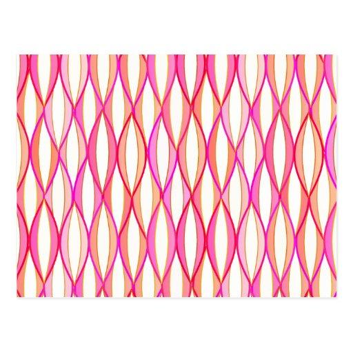 Mid-Century Ribbon Print - coral and pink Post Card