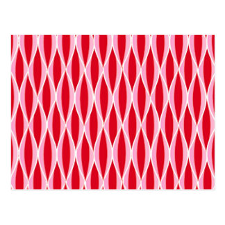 Mid-Century Ribbon Print - deep red and pink Postcards
