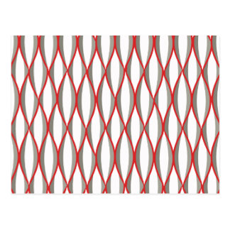 Mid-Century Ribbon Print - grey, white, red Postcard