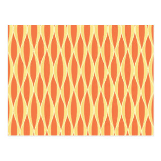 Mid-Century Ribbon Print - orange and yellow Postcards