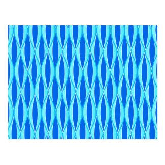 Mid-Century Ribbon Print - shades of blue Postcard