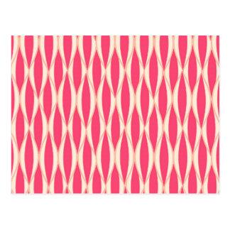 Mid-Century Ribbon Print - shades of coral Post Cards