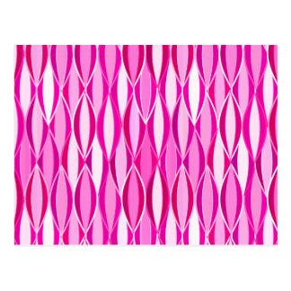 Mid-Century Ribbon Print - shades of magenta pink Postcard