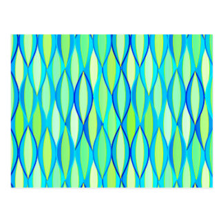 Mid-Century Ribbon Print - turquoise and lime Post Card
