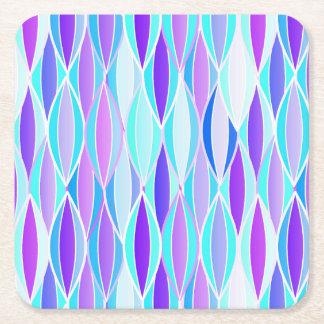 Mid-Century Ribbon Print - violet and aqua Square Paper Coaster