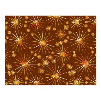 Mid Century Sputnik pattern, Chocolate Brown Postcards