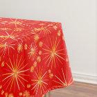 Mid Century Sputnik pattern, Deep Red Tablecloth