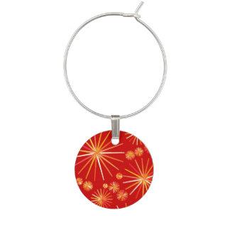 Mid Century Sputnik pattern, Deep Red Wine Charm