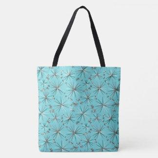 Mid Century Sputnik pattern, Robin's Egg Blue Tote Bag