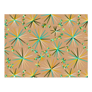 Mid Century Sputnik pattern, Taupe Tan Postcard
