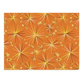 Mid Century Sputnik pattern, Terracotta Postcard
