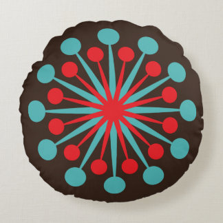 Mid Century Starburst Red and Turquoise Round Cushion