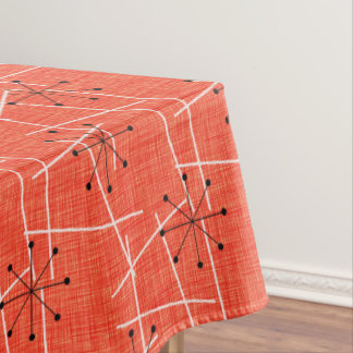 Mid-Century Starbursts | Orange, Black White Tablecloth