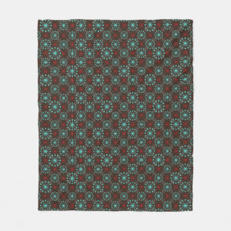 Mid Century Stars Turquoise and Red Pattern Fleece Blanket