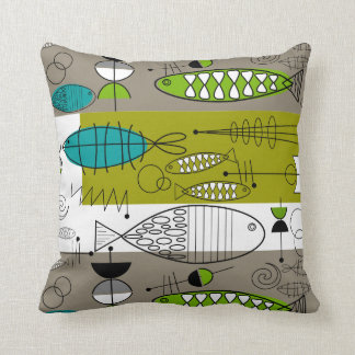 Mid-Century Whimsical Fish Art Teal Lime Cushion