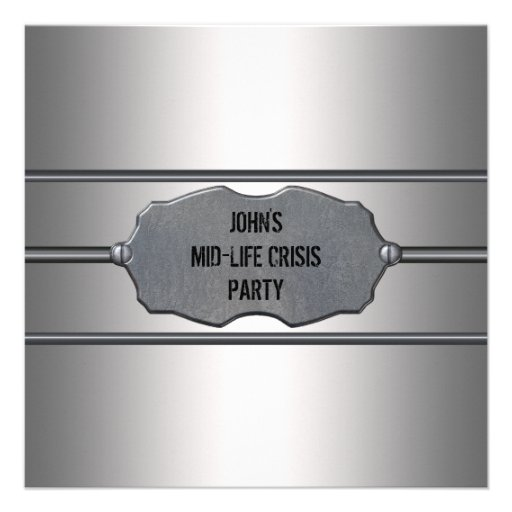 Mid Life Crisis Mans Black 40th Birthday Party Personalized Announcement