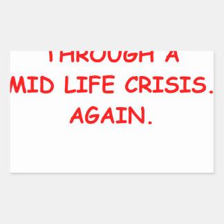 mid life crisis rectangular sticker