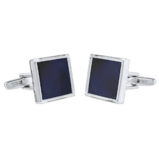 Mid-Nite Sapphire Square Cufflinks Silver Finish Cuff Links