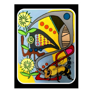 'MidCentury Mod Abstract Garden Bee' painting on a Postcard