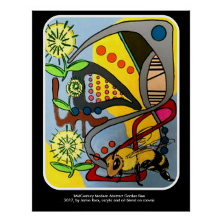 'MidCentury Mod Abstract Garden Bee' painting on a Poster