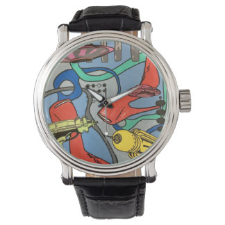 'MidCentury Mod Glamour Invasion' painting on a Watch