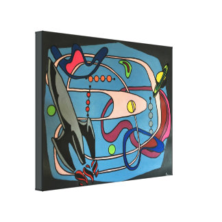'MidCentury Mod Space is the Place' painting on a Canvas Print