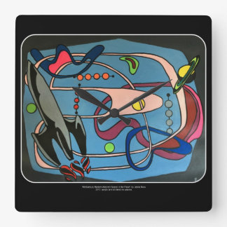 'MidCentury Mod Space is the Place' painting on a Square Wall Clock