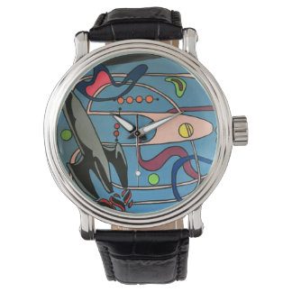 'MidCentury Mod Space is the Place' painting on a Watch
