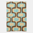 Midcentury modern geometric squiggly shapes tea towel