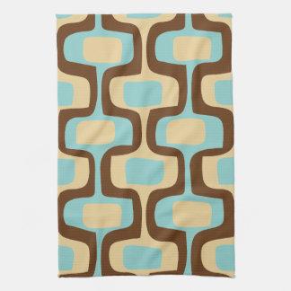 Midcentury modern geometric squiggly shapes tea towel