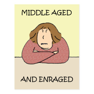 Middle aged rage. postcard