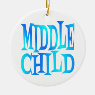 Middle Child Text in Blue Ceramic Ornament