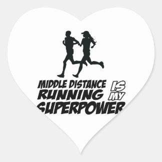 Middle distance running heart sticker