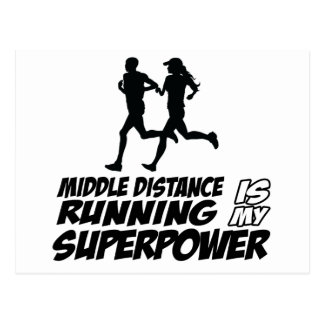 Middle distance running postcard